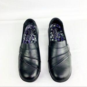 Skechers FLEXIBLES Black Leather Slip On Size 8